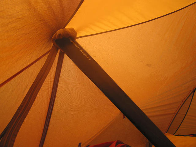 Bakkagerði. Split paddle to prevent tent from collapsing in storm.