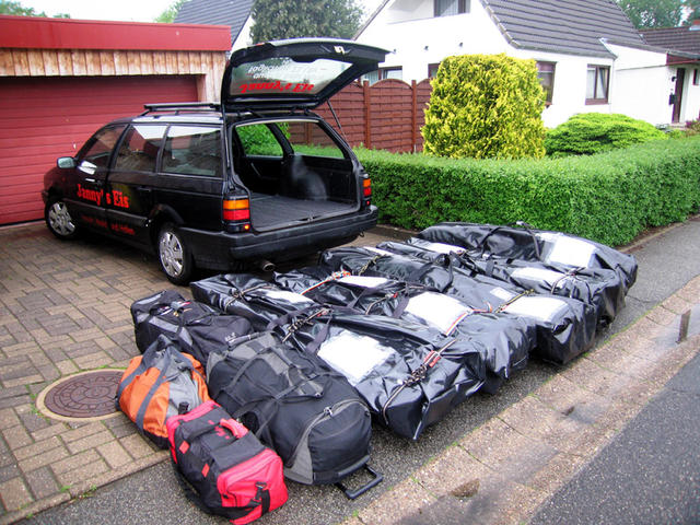 Leaving Germany. Three (take-apart) kayaks and gear ready to go.