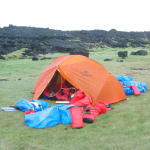 """Our """"orange rescue hut"""" at 2 am, after the first crossing of Faxaflói Bay by kayak (56mi)"""