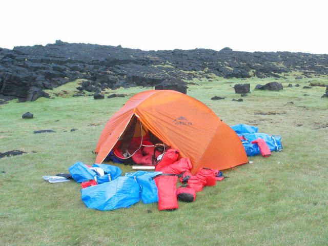 "Our ""orange rescue hut"" at 2 am, after the first crossing of Faxaflói Bay by kayak (56mi)"