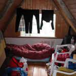We were invited to leave our soggy tent and enjoy a stay in an unused loft.