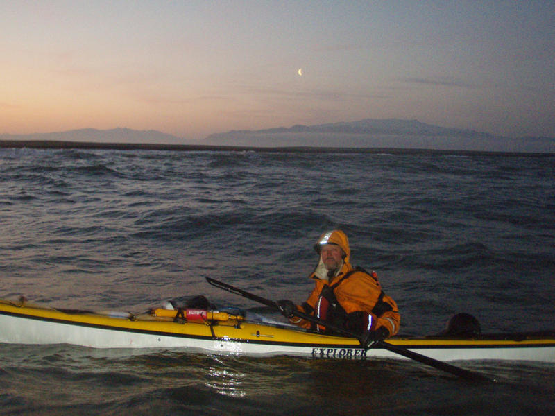 """Night"" paddling to dodge the wind."