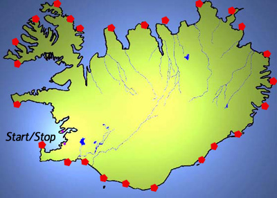 Iceland 2007, nightly stops