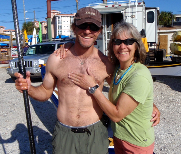 Jake Stachovak (taking a break from his expedition) and Kristin Nelson