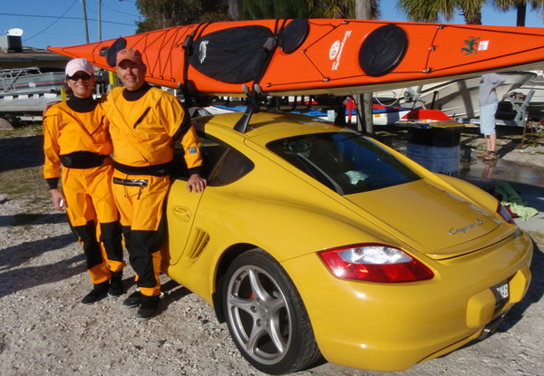 Joe and Rae Ann exhibit their ultimate kayak carrier...
