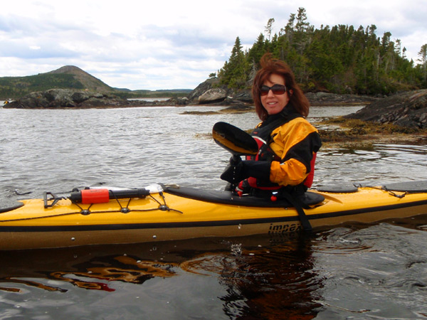 Linda Bartlett in new kayak at Terra Nova